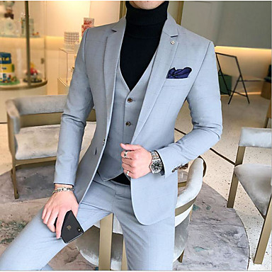 cheap Tuxedos & Suits-Sky Blue / Royal Blue / Lavender Solid Colored Slim Fit Cotton Suit - Notch Single Breasted One-button