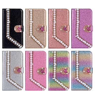 Недорогие Чехлы и кейсы для Galaxy Note-Кейс для Назначение SSamsung Galaxy Note 9 / Note 8 Кошелек / Бумажник для карт / Стразы Чехол С сердцем / Сияние и блеск Твердый Кожа PU