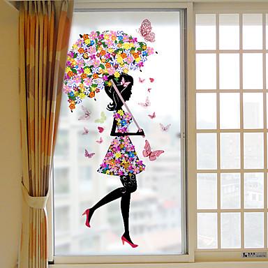 زهرة فتاة فيلم البلاستيكية القابلة للإزالة النافذة&ampamp، ampamp، حلية، الزخرفة، هندسي