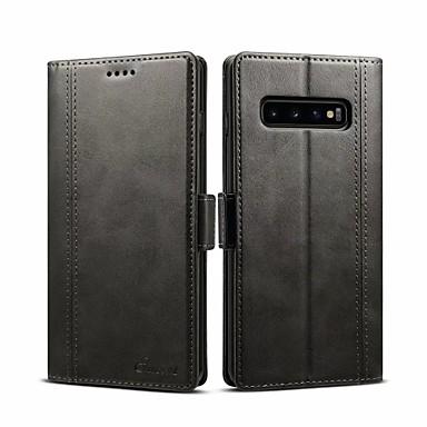 Недорогие Чехлы и кейсы для Galaxy S-Кейс для Назначение SSamsung Galaxy S9 / S9 Plus / Galaxy S10 Кошелек / Бумажник для карт / Флип Чехол Однотонный Твердый Кожа PU
