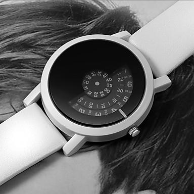 رخيصةأون ساعات الرجال-رجالي ساعة فستان كوارتز جلد أسود / الأبيض ساعة كاجوال رقمي موضة - أبيض أسود أسود / أبيض سنة واحدة عمر البطارية / ستانلس ستيل