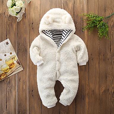 رخيصةأون ملابس الرضع-قطع واحدة قطن كم طويل لون سادة / مخطط رياضي Active / أساسي للفتيات طفل / طفل صغير