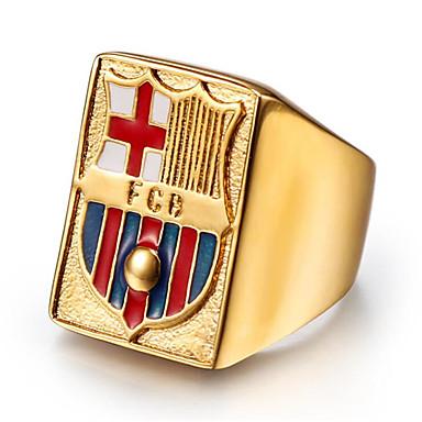 رخيصةأون خواتم-رجالي خاتم 1PC ذهبي الصلب التيتانيوم Geometric Shape أنيق هدية مناسب للبس اليومي مجوهرات كلاسيكي السعيدة كوول