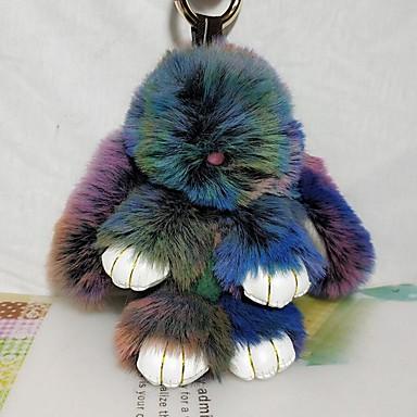 Недорогие Брелоки-Брелок Rabbit На каждый день Животный принт Мода Модные кольца Бижутерия Коричневый / Зеленый / Синий Назначение Школа Для улицы