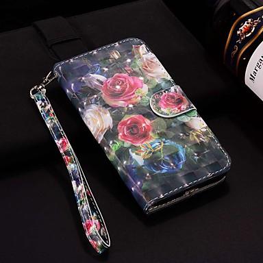 voordelige Huawei Mate hoesjes / covers-hoesje voor huawei p30 pro / huawei p30 lite patroon / flip / met standaard full body cases laser 3d rose hard pu leer voor huawei p30 / p20 pro / p20 lite / p20 / p slim 2019 / p slim