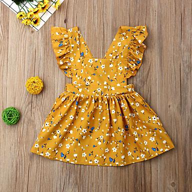 abordables Ropa de Bebés-Bebé Chica Boho Floral Volante Sin Mangas Hasta la Rodilla Algodón Vestido Amarillo