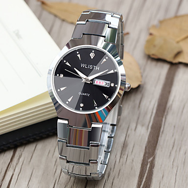 cheap Steel Band Watches-WLISTH Men's Women's Steel Band Watches Quartz Classic Style Casual Water Resistant / Waterproof Analog White / Black Gold Silver+Blue / One Year / Stainless Steel / Calendar / date / day