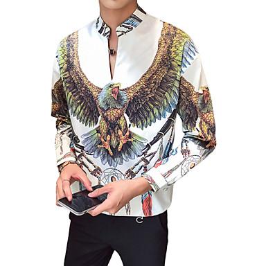 رخيصةأون قمصان رجالي-رجالي أناقة الشارع / أنيق طباعة قميص, هندسي / حيوان رقبة طوقية مرتفعة / كم طويل