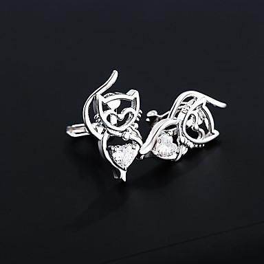 olcso Klipsz fülbevalók-Női Kocka cirkónia Klipszes fülbevalók Cat S925 ezüst Fülbevaló Ékszerek Ezüst / Aranyozott Kompatibilitás Esküvő Napi 1 pár