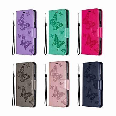 رخيصةأون LG أغطية / كفرات-غطاء من أجل LG LG Stylo 5 محفظة / ضد الصدمات / مع حامل غطاء كامل للجسم لون سادة / فراشة قاسي جلد PU