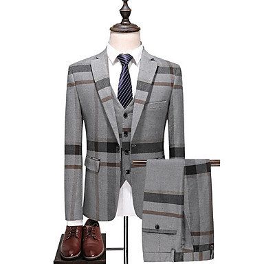 cheap Men's Blazers & Suits-Men's Plus Size Suits, Striped / Color Block Shirt Collar Polyester Blue / Gray / Slim
