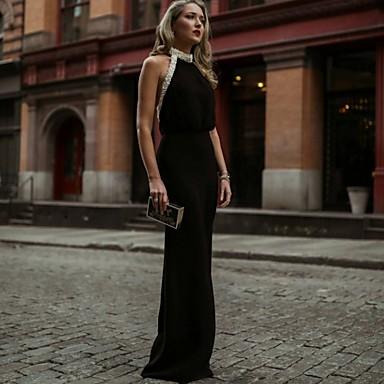 cheap Lace Dresses-Sheath / Column Elegant Black Holiday Formal Evening Dress Halter Neck Sleeveless Floor Length Jersey with Beading 2020