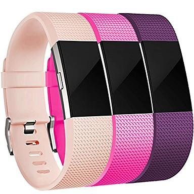 Недорогие Аксессуары для смарт-часов-Ремешок для часов для Fitbit Charge 2 Fitbit Спортивный ремешок Нержавеющая сталь / силиконовый Повязка на запястье