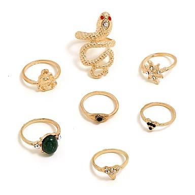 رخيصةأون خواتم-نسائي خاتم 7PCS ذهبي سبيكة Geometric Shape شائع مناسب للعطلات مجوهرات هندسي ميني جميل