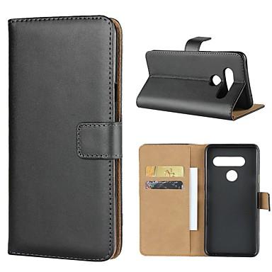 Недорогие Чехлы и кейсы для LG-Кейс для Назначение LG LG V40 / LG V30 / LG V20 Кошелек / Бумажник для карт / со стендом Чехол Однотонный Твердый Настоящая кожа