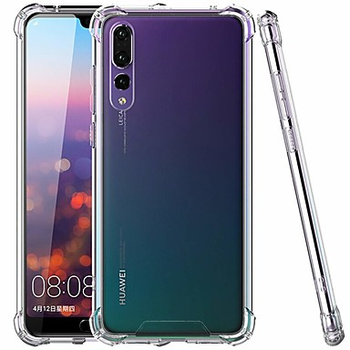غطاء من أجل Huawei Huawei P20 / Huawei P20 Pro / Huawei P20 lite ضد الصدمات / نحيف جداً / شفاف غطاء خلفي لون سادة قاسي TPU