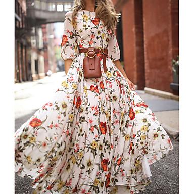 povoljno Maxi haljine-Žene Nabori Maxi Obala Haljina Ležerne prilike Proljeće Praznik Za odmor Swing kroj Cvjetni print Cvijet Lantern rukav spaljene Print S M