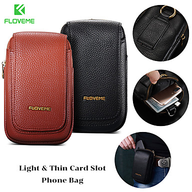 Недорогие Универсальные чехлы и сумочки-floveme высококачественный чехол из натуральной кожи для универсального 5.5-дюймового чехла для телефона с подставкой / держателем для карт-кошелька / сплошной талией