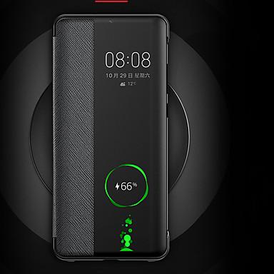 voordelige Huawei Mate hoesjes / covers-hoesje Voor Huawei Huawei P30 / Huawei P30 Pro / Mate 10 Flip / Auto Slapen / Ontwaken Achterkant Effen Hard PU-nahka
