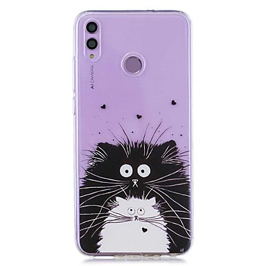 رخيصةأون Huawei أغطية / كفرات-حالة لهواوي الشرف 8x / huawei p smart (2019) / غطاء خلفي شفاف أبيض وأسود قطّة ناعمة تبو لجهاز mate20 lite / mate10 lite / y6 (2018) / p20 lite / nova 3i / p smart / p20 pro