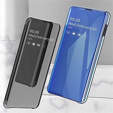 Недорогие Чехлы и кейсы для Galaxy S-Кейс для Назначение SSamsung Galaxy Galaxy S10 / Galaxy S10 Plus / Galaxy S10 E со стендом / Покрытие / Зеркальная поверхность Чехол Однотонный Твердый Кожа PU