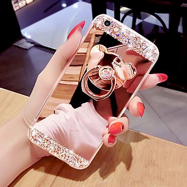 Недорогие Кейсы для iPhone 6 Plus-чехол для телефона зеркальная поверхность чехол для телефона с кольцом в форме медведя&подставка для усилителя для iPhone 5/6 / 6p / 7 / 7p / 8 / 8p / x / xs / xr / xs max