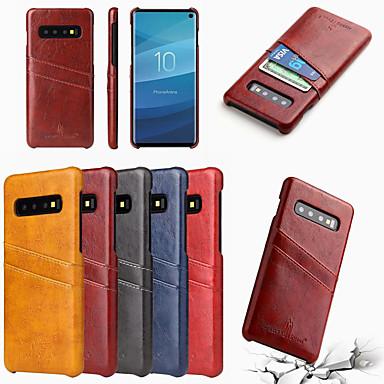 voordelige Galaxy S-serie hoesjes / covers-fierre shann case voor samsung galaxy s10 s10 plus kaarthouder achterkant effen gekleurde harde pu lederen s10 e s9 s9 plus