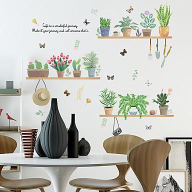 ملصقات الحائط الخضراء بوعاء النباتات الطازجة - الكلمات&amp ؛ أمبير يقتبس ملصقات الحائط الشخصيات دراسة غرفة / مكتب / غرفة الطعام / المطبخ