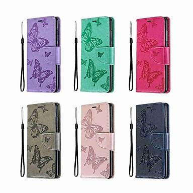 Недорогие Чехлы и кейсы для Nokia-Кейс для Назначение Nokia Nokia 5.1 / Nokia 4.2 / Nokia 3.1 Кошелек / Бумажник для карт / со стендом Чехол Бабочка / Однотонный Твердый Кожа PU