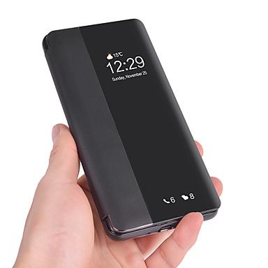 voordelige Huawei Mate hoesjes / covers-hoesje Voor Huawei Huawei P20 / Huawei P20 Pro / Huawei P20 lite Kaarthouder / Flip / Auto Slapen / Ontwaken Volledig hoesje Effen Zacht PU-nahka / P10 Plus / P10 Lite / P10
