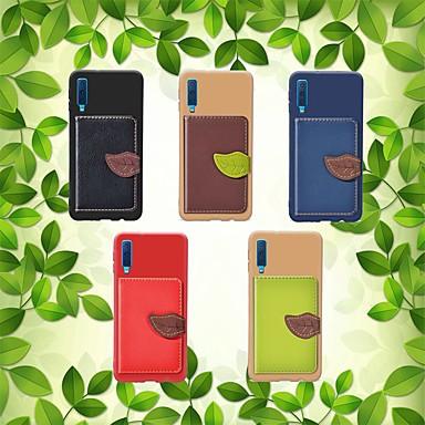 رخيصةأون حافظات / جرابات هواتف جالكسي A-غطاء من أجل Samsung Galaxy A5(2018) / A6 (2018) / A6+ (2018) حامل البطاقات / ضد الصدمات / مع حامل غطاء خلفي منظر / شجرة قاسي جلد PU