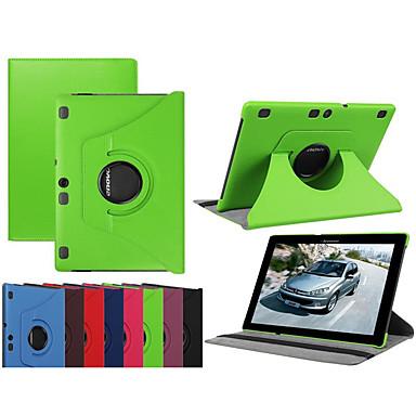 Недорогие Чехлы и кейсы для Lenovo-Кейс для Назначение Lenovo Lenovo Tab 3 10 Plus Поворот на 360° / Защита от удара / со стендом Чехол Однотонный Твердый Кожа PU / Ультратонкий