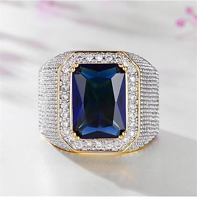 povoljno Prstenje-Muškarci Prsten Sintetički akvamarin 1pc Zlato Titanium Steel Geometric Shape Stilski Party Dar Jewelry Klasičan Sretan Cool
