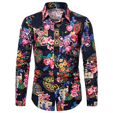 رجالي نادي مبالغ فيه طباعة قميص, ورد / الرسم / ترايبال ياقة كلاسيكية / كم طويل
