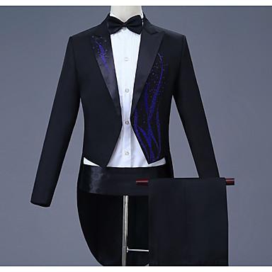 رخيصةأون سترات و بدلات الرجال-رجالي أسود أزرق فاتح ذهبي M L XL الدعاوى قياس كبير هندسي نحيل