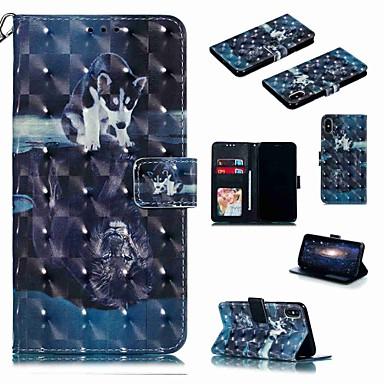 Недорогие Кейсы для iPhone 6-чехол для яблока iphone xr / iphone xs max flip / с подставкой / противоударный чехол для всего тела мультфильм / жесткая искусственная кожа собаки для iphone 6 / 6s plus / 7/8 plus / xs / x
