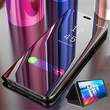 cheap Galaxy S Series Cases / Covers-Case For Samsung Galaxy S9 / S9 Plus / S8 Plus with Stand / Plating / Mirror Full Body Cases Solid Colored Hard PU Leather