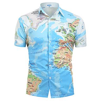 رخيصةأون قمصان رجالي-رجالي أساسي طباعة قطن قميص, الرسم ياقة كلاسيكية / كم قصير