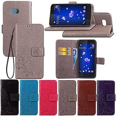 رخيصةأون HTC أغطية / كفرات-غطاء من أجل HTC HTC U11 / HTC U Ultra / HTC Desire 12+ محفظة / مع حامل / قلب غطاء كامل للجسم لون سادة / فراشة / زهور قاسي جلد PU