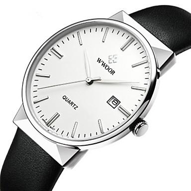 رخيصةأون ساعات الرجال-WWOOR رجالي ساعة فستان ياباني كوارتز ياباني جلد طبيعي أسود / أزرق 30 m مقاوم للماء تصميم جديد ساعة كاجوال مماثل كاجوال موضة - أبيض أزرق