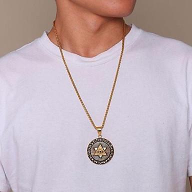 رجالي قلائد الحلي كلاسيكي أشكال النحت عيون موضة هيب هوب الصلب التيتانيوم ذهبي 60 cm قلادة مجوهرات 1PC من أجل هدية مناسب للبس اليومي