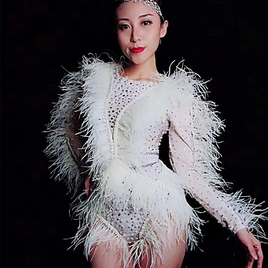 cheap Dancewear & Shoes-Exotic Dancewear Rhinestone Bodysuit / Nightclub Jumpsuits / Club Costume Women's Performance Spandex Feathers / Fur / Pearls / Crystals / Rhinestones Long Sleeve Leotard / Onesie