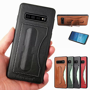 voordelige Galaxy S-serie hoesjes / covers-fierre shann case voor samsung galaxy s10 s10 plus met standaard / kaarthouder achterkant effen gekleurde hard pu leer s10 e s9 s9 plus s8 s8 plus