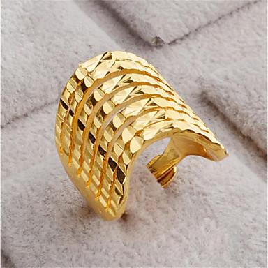 رخيصةأون خواتم-نسائي فتح الطوق 1PC ذهبي ذهب 18K شغل Geometric Shape أنيق هدية مناسب للبس اليومي مجوهرات هندسي السعيدة محبوب
