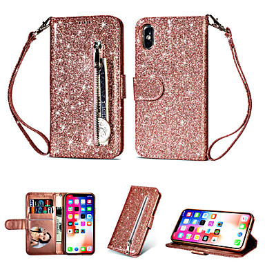 cheap iPhone Cases-Case For Apple iPhone XS Max / iPhone 8 Plus Glitter Shine / Shockproof / Wallet Back Cover Solid Colored Soft TPU / PU Leather for iPhone 7 / 7 Plus / 8 / 6 /6 Plus / XR / X / XS