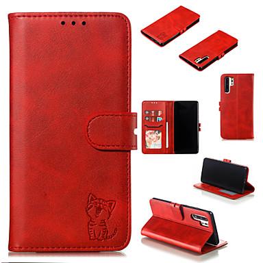 رخيصةأون Huawei أغطية / كفرات-غطاء من أجل Huawei Huawei P20 / Huawei P20 Pro / Huawei P20 lite محفظة / حامل البطاقات / مع حامل غطاء كامل للجسم لون سادة / قطة قاسي جلد PU