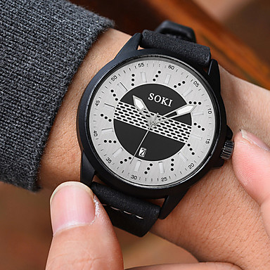 Недорогие Часы на кожаном ремешке-Муж. Нарядные часы Кварцевый На каждый день Творчество Аналоговый Черный Синий Черный / Белый / Два года / Кожа / Светящийся / Два года