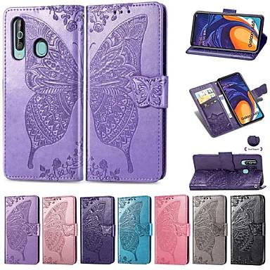 voordelige Galaxy A-serie hoesjes / covers-hoesje Voor Samsung Galaxy Galaxy A7(2018) / Galaxy A10 (2019) / Galaxy A30 (2019) Portemonnee / Kaarthouder / Schokbestendig Volledig hoesje Effen / Vlinder Hard PU-nahka