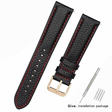 رخيصةأون قيود ساعات-جلد أصلي / جلد / شعر العجل حزام حزام إلى أسود 17CM / 6.69 بوصة / 18cm / 7 Inches / 19cm / 7.48 Inches 1cm / 0.39 Inches / 1.2cm / 0.47 Inches / 1.3cm / 0.5 Inches