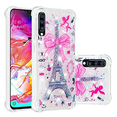 رخيصةأون حافظات / جرابات هواتف جالكسي A-غطاء من أجل Samsung Galaxy A6 (2018) / A6+ (2018) / Galaxy A7(2018) ضد الصدمات / سائل متدفق / شفاف غطاء خلفي كارتون / بريق لماع ناعم TPU